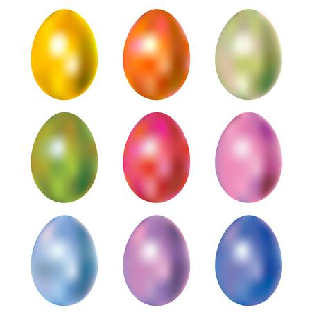 shiny colorful dyed easter eggs
