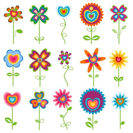 love, retro fantasy flowers  set