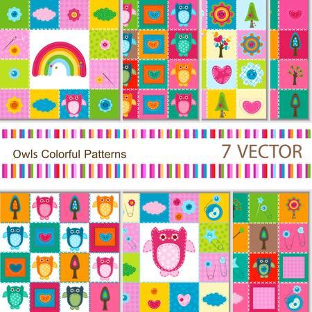 Photo pour 7 vector colorful owls backgrounds for babies  - image libre de droit