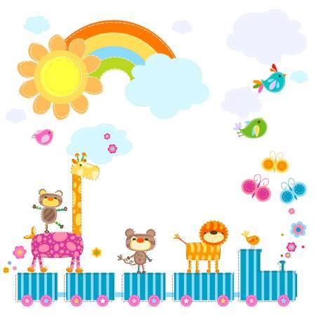 Foto de zoo train carrying happy animals in a sunny day - Imagen libre de derechos