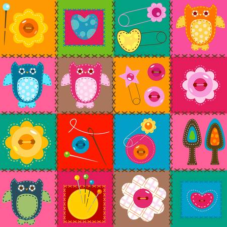 Photo for stitch owls on a colorful background for babies  - Royalty Free Image