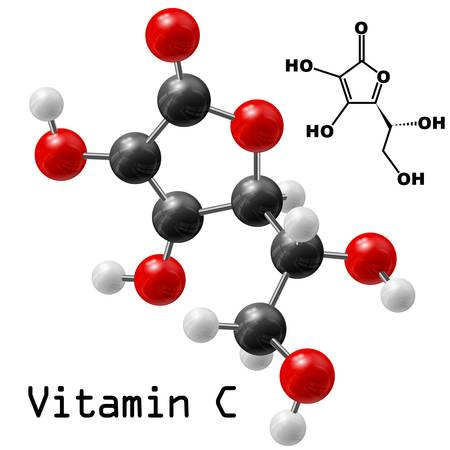 structural model of vitamin C molecule
