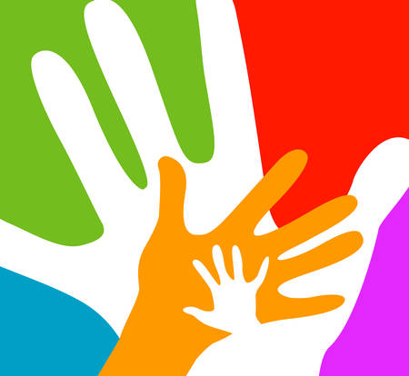 Illustration pour children and adults hands together - image libre de droit