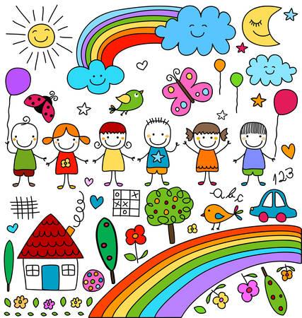 Illustration pour kids, clouds, sun, rainbow.., child like drawings elements set - image libre de droit