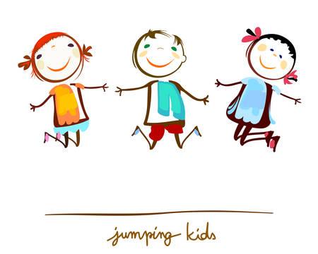 Illustration pour happy kids jumping - image libre de droit