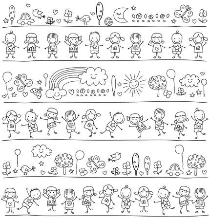 group of kids, child like style drawing