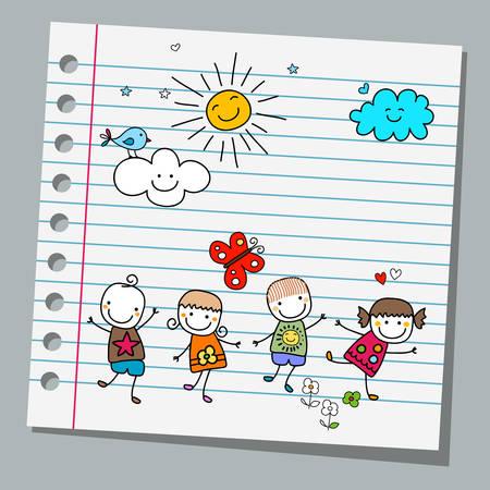 Illustration pour notebook paper happy summer day - image libre de droit