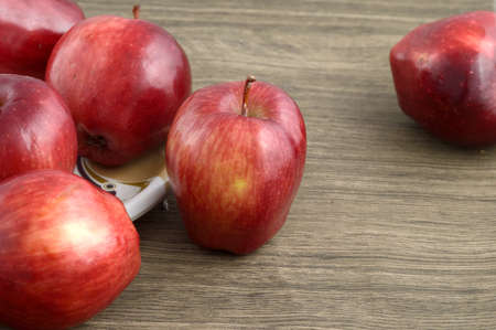 Photo for Ripe red apples on wooden background - Royalty Free Image