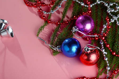 Photo pour Christmas Decoration: Christmas ball and ornaments with the branch of Christmas tree - image libre de droit