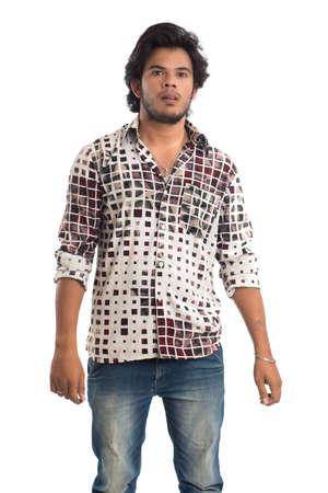 Photo pour Young man posing on a white background - image libre de droit