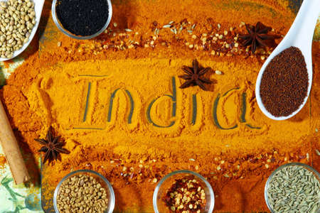 A board with ext India and turmeric and red chili powder with other spices like, anise star, methi seeds, coriander seeds, nigella seedss, mustard seeds and fennel seeds, top view.