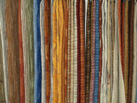 various textile tissues presented on the shop-stand