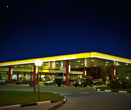 the gas station at night