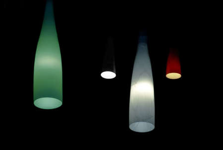 Colorful chandeliers in dark