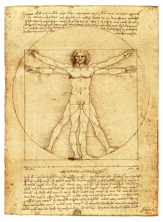 Foto de The Vitruvian Man by Leonardo Da Vinci, parchment copy on white - Imagen libre de derechos