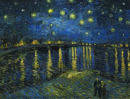 Foto de Starry Night Over the Rhone by Van Gogh, 1888. Museum Orsay, Paris - Imagen libre de derechos