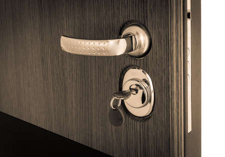 Photo for open door with reinforced key mechanism - Royalty Free Image