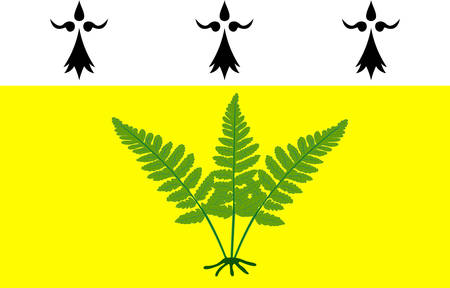 Flag of Fougeres is a commune and a sub-prefecture of the Ille-et-Vilaine department in Brittany in northwestern France. Vector illustration