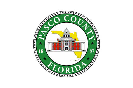 Flag of Pasco County is a county located in the U.S. state of Florida. Vector illustration