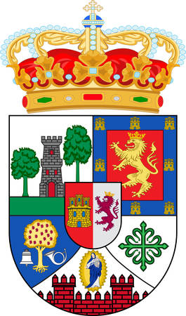 Coat of arms of province of Caceres is a province of western Spain, and makes up the northern half of the autonomous community of Extremadura. Vector illustration