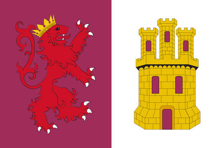 Flag of province of Caceres is a province of western Spain, and makes up the northern half of the autonomous community of Extremadura. Vector illustration
