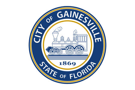 Flag of Gainesville is the county seat and largest city in Alachua County, Florida, United States, and the principal city of the Gainesville, Florida, metropolitan statistical area. Vector illustration