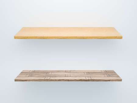 Photo pour 3D image set of two wooden shelf with different wood textures old rough gray and yellow planks. Design template on isolated gray background - image libre de droit