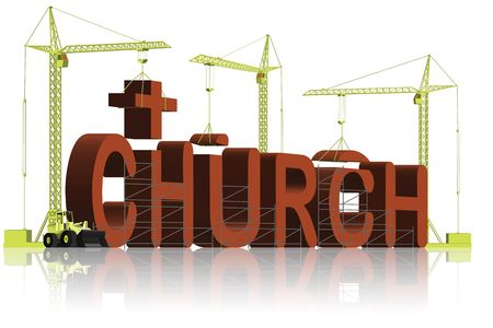 building a church, tower cranes constructing 3d word