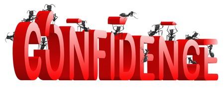 Foto de confidence building self esteem and belief psychology red word built by ants - Imagen libre de derechos
