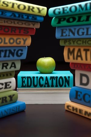 Photo pour education study books with text learning building knowledge at school with healthy apple - image libre de droit