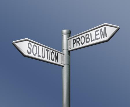 Foto de problem solution road sign blue background - Imagen libre de derechos