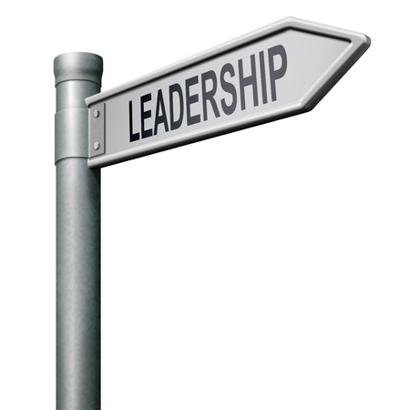 leadership road sign follow team leader or way to success concept