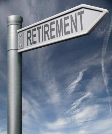 retirement sign  road sign pointing towards retirement concept for retirement investment ahead fund or plan