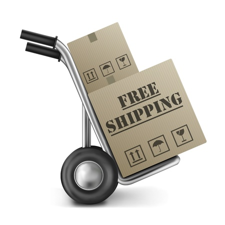 Foto de free shipping brown cardboard box delivery of online internet shopping orders in a brown package on a hand truck - Imagen libre de derechos