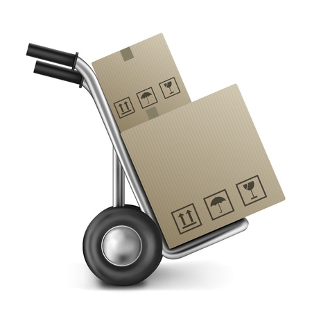 cardboard box on sack truck with copy or empty space isolated on white concept for online internet web shop or storage and moving box