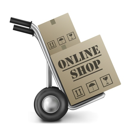 online shop cardboard box internet shopping store to order online on the web
