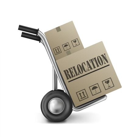 relocation cardboard box relocate or move package on hand truck or sack trolley moving and translocate storage boxes