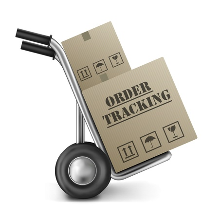 online order tracking of packages send by a internet web shop brown cardboard box on hand truck isolated on white