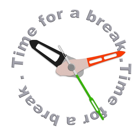 Time for a break lunch break of coffee break or just a time out for relaxation and enjoyng free time isolated clock with text
