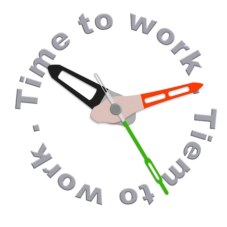 Time for work clock indicating working time do the job deadline working hours time scedule