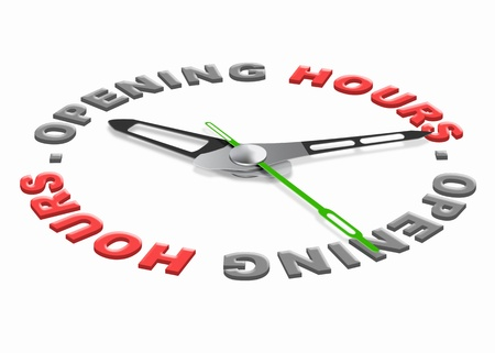 opening hours of a store or shop or business time scedule. Clock with red text. Costumer service