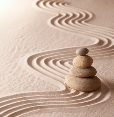 Foto de zen meditation garden, relaxation and meditation through symplicity harmony and balancce lead to health and wellness, spirituality and concentration background with copy space - Imagen libre de derechos