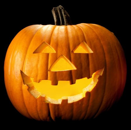 Halloween pumpkin head scary face with evil eye jack