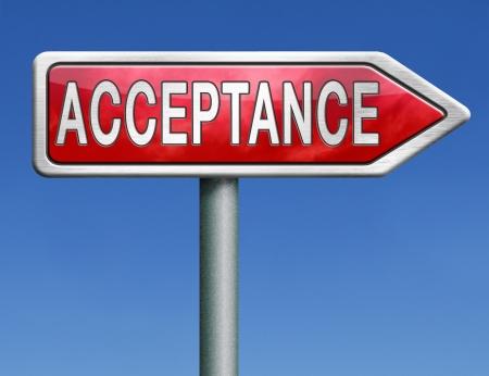 Photo pour acceptance accept and approve results - image libre de droit