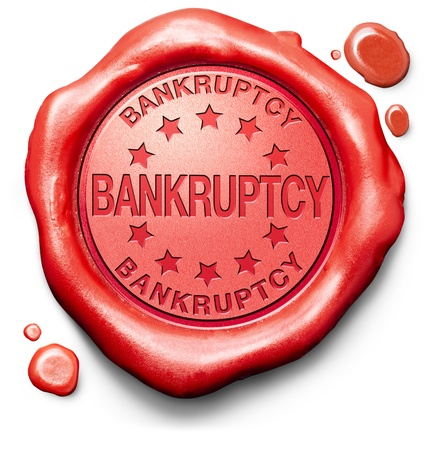 bankruptcy law or court personal or business bankrupt notice debt relief red label icon or stamp