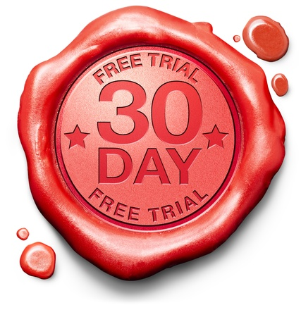 30 day free trial guarantee money back guaranteed quality and customer satisfaction red label icon or stamp