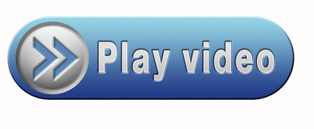 Video play clip or watch movie online or in live stream, blue multimedia button banner or icon