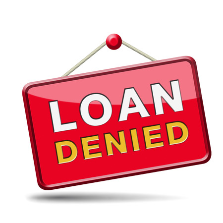 loan denied icon or button loaning money for car house education or mortgage