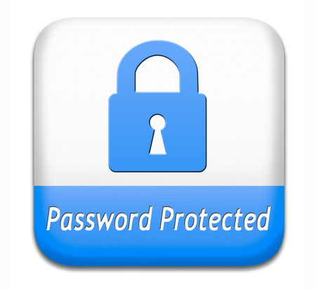 Password protected data protection by using strong safe passwords recover and change for security and safety button