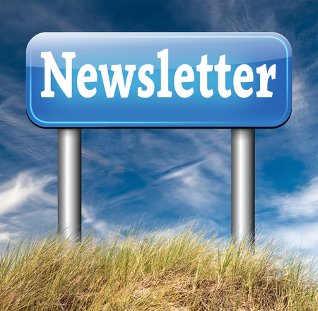 Newsletter sign with hot news items and latest articles blue road sign
